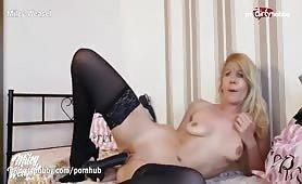 Big black dildo for blonde German MILF