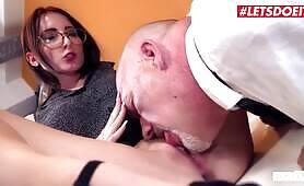 Slutty German Secretary Gets All Wet On Her Bosses Cock