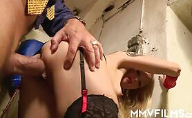 Tiny titted blondie gets arse fucked by horny plumber